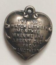 "Vintage Sterling Mizpah Heart Charm Engraved ""Teresa"""