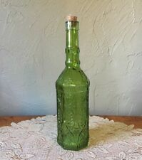 """12"""" Tall 8 Sided Green Glass Bottle w/Cork Beautiful Raised Design Vintage Style"""