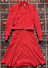 Vtg 80s Orange Gold Buckle Belted Puff Sleeve Marant Alexa Midi Dress 10 12