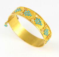 Vintage Solid 18Ct Gold And Turquoise Bangle / Bracelet