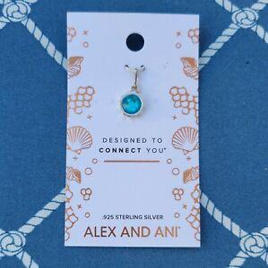Alex and Ani | Round .925 Silver Swarovski Crystal Charm | Cyan Aqua Blue/Green
