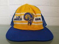 VINTAGE RARE 70s Los Angeles Rams NFL Yellow AJD Superstripe trucker Hat