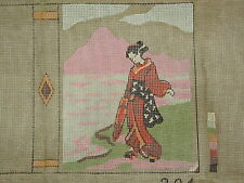 Vintage French Needlepoint Canvas Geisha Book Cover S'Epin ParisTapestry