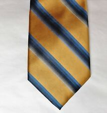 Milano striped silk tie gold and blue Italian design 4 inch wide