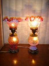 FENTON OLD CRANBERRY OPALESCENT HOBNAIL LAMP GWTW (1-2)