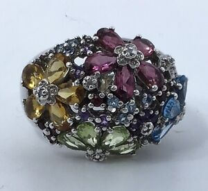 Sterling Silver Multi Gemstone Flowers Cocktail Ring
