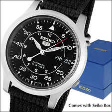 Seiko 5 Military-Style Automatic Field Watch with Black Canvas Strap #SNK809K2
