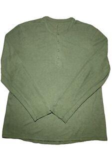 Lululemon mens long sleeve henley shirt green sz XL