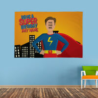 Personalised Happy Birthday Face & Name Superhero Flag Banner Party Adult & Kids