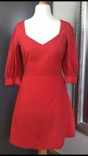 H&M  Womens Red Dress Size 10 EUR 38 Puffy Sleeves Night Out Summer Holiday