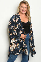 Women Plus Size Navy Floral Kimono Top Blouse Shirt Jacket Relaxed Fit Casual