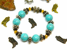 Stretch Bracelet 7.5 Inch Turquoise Color Howlite Gold Glass Two Tone Accents