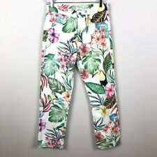 7c31d990 NEW Zara 2 High Rise Mom Fit Ankle Length Tropical Floral Jeans Toucan B32