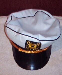 Yacht Captain Hat Boat Sailor Fancy Dress Up Halloween Adult Costume Accessory