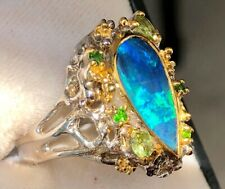 Vintage Estate Pear Forest Woods Branches Australian Opal Blue Ring 7.5 Ladies
