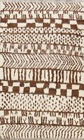 Modern Geometric Moroccan Oriental IVORY/ BROWN Area Rug Hand-knotted Carpet 5x7