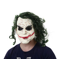 Halloween Joker mask Cosplay Horror Scary Clown Mask with Green Hair