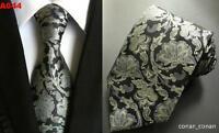 Black Silver Tie Flower Patterned Handmade 100% Silk Wedding Necktie 8cm Width