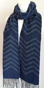 NORDSTROM MEN'S SHOP 100% Handmade Soft Wool Scarf Zigzag Navy Gray $109 NEW