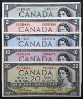 1954 Bank of Canada Set of 5 Notes $1, $2, $5, $10 & $20 Modified Portrait