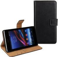 Genuine Real Leather Flip Black Stand Wallet Case Cover For Sony Xperia Experia