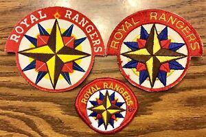 Vintage Royal Rangers Patch Lot of 3 RR Uniform Emblem Star Early Square Cut