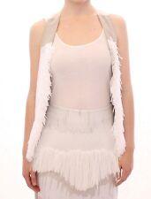 NWT $700 Arzu Kaprol White Lashes Open Back Vest Jacket IT40/ US6/ EU36/ S
