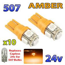 10 x AMBER 24v Capless Side Light 507 501 W5W 5 SMD T10 Wedge Bulbs HGV Truck