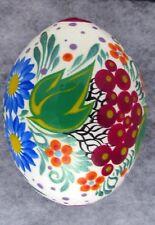 Pysanka Wooden Easter Eggs, Ukrainian Pysanka, White w/ Multicolored Flowers #2