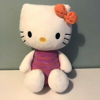 "Sanrio Hello Kitty Soft Toy Plush Sitting 12"" Tall Pink & Orange Outfit Bow"