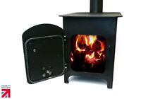Wood Burning Stove Log Burner Heater for Workshop Cabin Patio Garage Barn Black
