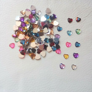 100 x 8mm Flatback Rhinestone Love Hearts, Gems for Card Making