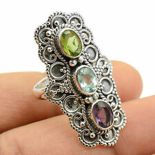 Blue Topaz & Amethyst 925 Sterling Silver Ring Jewelry Size-8 SR-29427