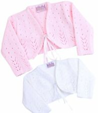 BabyPrem Baby Girls Clothes Pink White Knitted Fancy Bolero Cardigan Wedding White 000