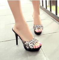 Women's Crystal Open Toe High Stilettos Heel Slipper Shoes Sandals Slip On Mules