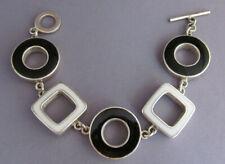 VINTAGE STERLING RETRO GEOMETRIC CIRCLE & SQUARE BLACK & WHITE ENAMEL BRACELET