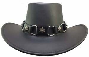 Cowboy hat Band, O ring Hat Band, Black Leather Hat Band, Star Concho Hat Band