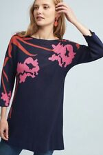 NEW Anthropologie Field Flower navy blue pink Big Flower Tunic Sweater Dress S