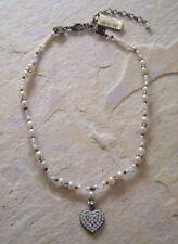 Konplott Kette mit Herzanhänger Hearts in white Caviar white crystal antique bro