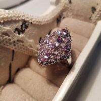 Stunning Rose De France  Amethyst & Zircon Ring in Platinum Over S/Silver
