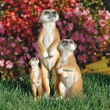 Kalahari Desert Meerkat Life Size Trio  Garden Sculpture Outdoor Statue