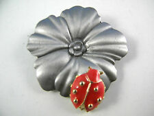 Vintage Ultra Craft Pin Flower with LadyBug Figural Brooch