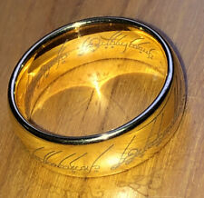 Lord Of The Rings 7mm Gold Platted Domed Style Titanium Men's Ring 10.5