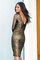 bnwt New Next Black gold stunning lace wiggle party dress size 8 petite
