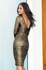 Vestido De Fiesta BNWT Nuevo Impresionante Encaje Wiggle siguiente Oro Negro Talla 12 Petite