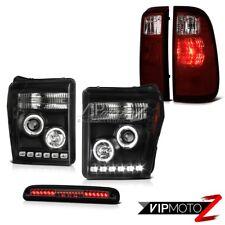 2011-2016 Ford F250 F350 Smokey 3RD Brake Lamp Tail Lights Black Headlamps LED