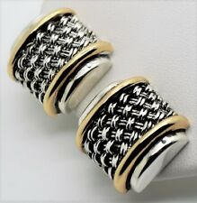 A078 Antique Unique CLASSIC Designer style Two tone cable Clip Fashion Earrings