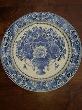 """1945 Vintage Delft Holland Porceleyne Fles Floral Plate Blue White 9.84""""(25 cm)"""