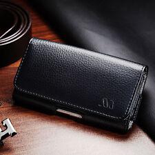 Black Leather Case Clip Horizontal Pouch for Motorola Moto Z2 Force