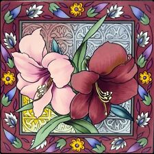 """Amaryllis Tile Single Flowers Tile 15x15 cm 6""""x6"""" Hand Made & Decorated in UK"""